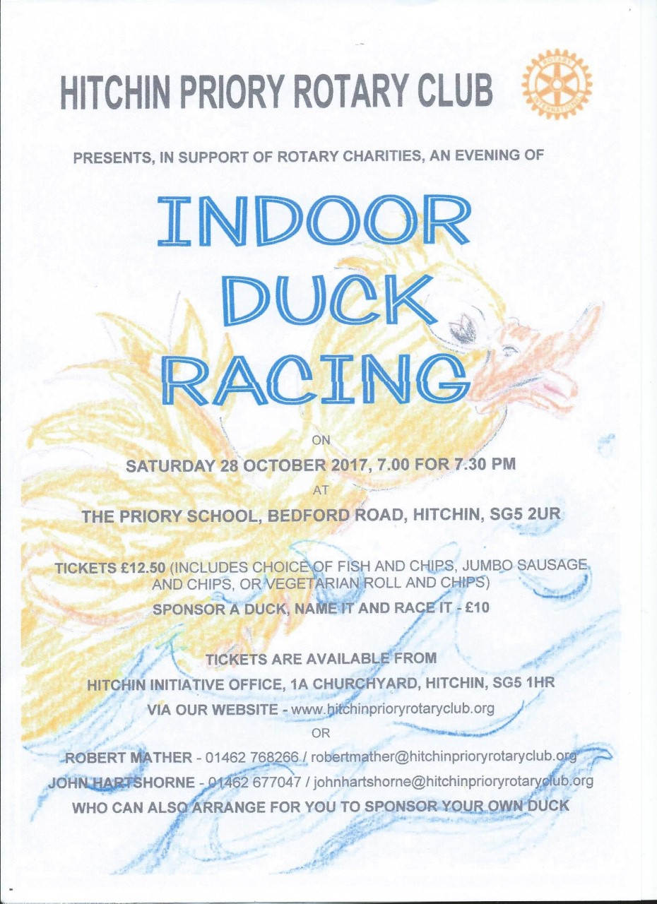 Hitchin Priory Rotary Club Indoor Duck Racing