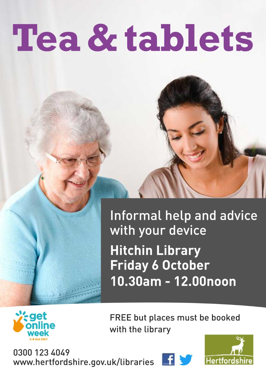 Tea and Tablets at Hitchin Library for Online Week