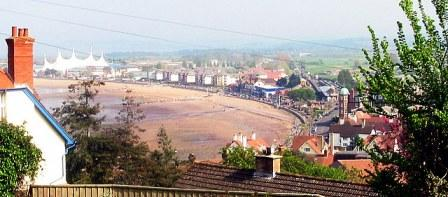 Minehead beach including Butlins holiday resort