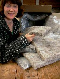 Nicky Saunter with wool insulation