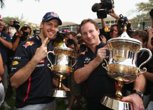Sebastian Vettel celebrates victory in at the Bahrain Grand Prix with Red Bull Team Principle, Christian Horner. Photo © Getty Images
