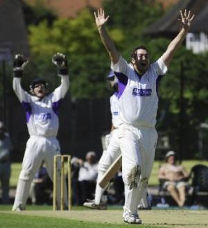 Pictured (above): Cheshire bowler James Hawley and wicketkeeper appeal for an lbw decision against Shropshire