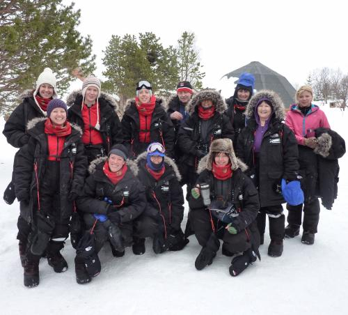 Amanda Halliday (front row right side) with Arctic Challenge team