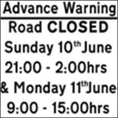 Download Festival 2012 road closure sign