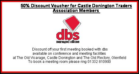 50% discount voucher for Castle Donington Traders Association Members