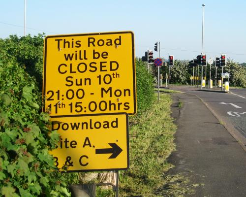 Incorrect road closure signs for Download Festival 2012