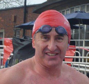 Bryn Dymott swimming for Parkinsons