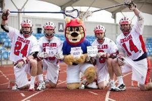 Pictured (above): Official 2010 FIL World Championships mascot Chester lends his support to some of our England players