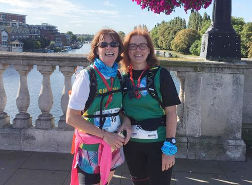 Kit Rapson and Stephanie Spencer on route during the Thames Path 50k challenge.