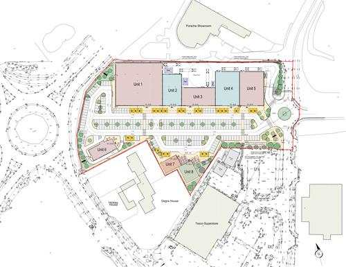 Site plan of the proposals for Old Tiffield Road, Towcester