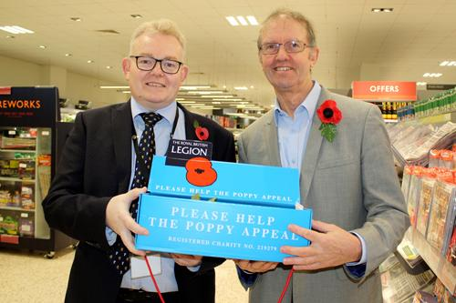 (Left to right) Cllr Ian McCord (SNC Leader) and Cllr Richard Dallyn (SNC Chairman) collecting for the RBL Poppy Appeal at Towcester Waitrose on Tuesday, 30 October 2018.