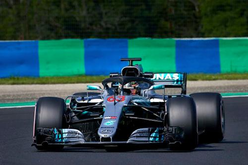 George Russell breaks the unofficial lap record around the Hungaroring driving for Brackley based F1 Mercedes AMG Petronas