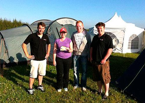 F1 ticket winners from last year Fiona and Jon (with Alex (left) and Mark (right)