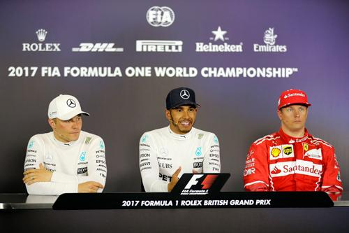 Brackley based F1 Merecedes AMG Petronas British driver Lewis Hamilton won the British Grand Prix for the fifth time on Sunday 16th July 2017 – matching the record of Jim Clark and Alain Prost – to cut Sebastian Vettel's championship lead to just a single point after late tyre dramas hit both Ferraris. Valtteri Bottas grabbed second from Kimi Raikkonen to secure a Mercedes one-two,