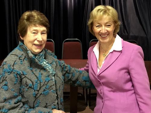Cllr Sandra Barnes MBE congratulations Rt Hon Andrea Leadsom on her readoption as the Conservative candidate in the general election for South Northants.