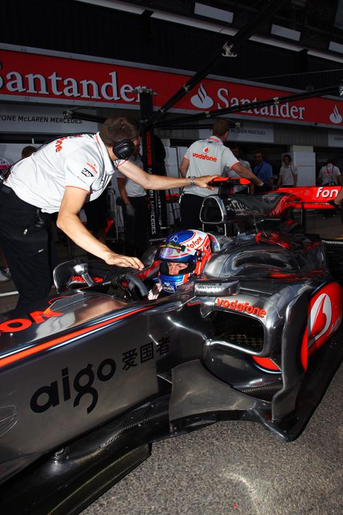 Jenson Button failed to get to Q3, here in the garage at Silverstone today World Copyright images Kalisz/Sutton