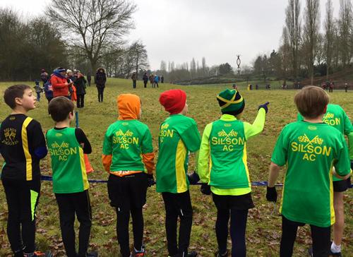 The Silson AC U11 boys all wrapped up warm on the start line at Campbell Park on Saturday.