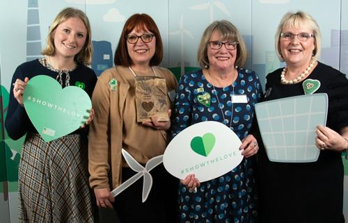 Sophie Page, NFWI Research and Campaigns Officer, Karen Tonks and Sue Hamilton, TEWI members and Ann Jones, NFWI Vice-Chair - all flying the flag for the WI organisation and Show The Love.