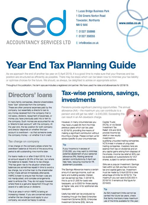 Year End Tax Planning Guide which provides TIPS on TAX PLANNING and TAX EFFICIENCY