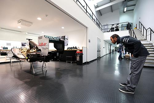 Lewis Hamilton at Brackley headquarters of F1 Mercedes AMG Petronas last week