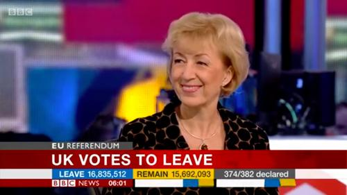 Andrea on BBC's coverage of the EU Referendum vote at the moment it was announced Leave had won.