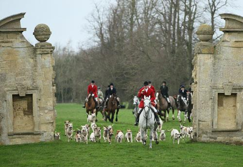 Huntsman Mick Wills leads the cavavlry charge up towards Easton Neston House on Boxing Day