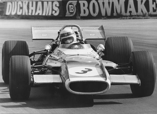 Sir Jackie Stewart in his British Grand Prix winning Matra MS80 at Silverstone in 1969