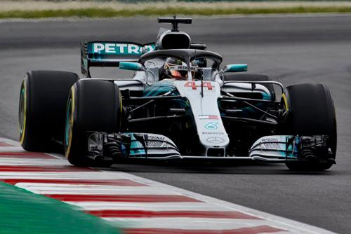 A first front-row lockout of 2018 with Lewis edging Valtteri by four hundredths of a second for Brackley based F1 Mercedes AMG Petronas in Spanish qualifying.
