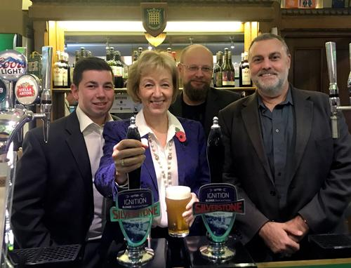 Andrea pulling a pint of ignition with Silverstone Real Ale Brewery - (Left to right) Rob South, Andrea Leadsom MP, Tanel Karjus, Trevor Wright