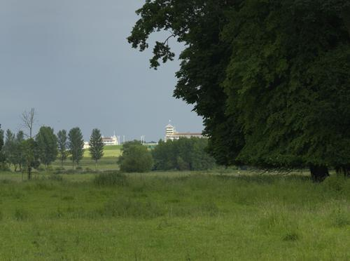 Towcester Racecourse from the watermeadows