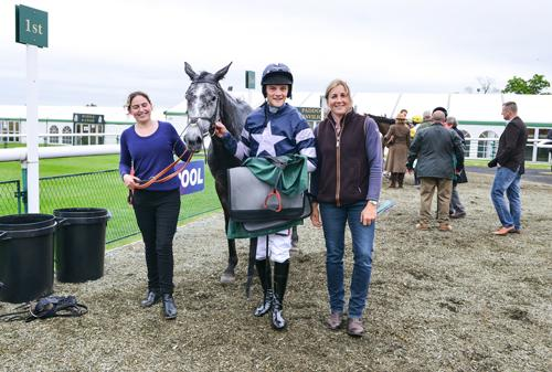 Here is the grey Goodnight Charlie after winning at Towcester in May with jockey Sam Davies-Thomas and trainer Caroline Fryer (right). Set for a St Valentine's Day success?