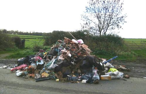 Illegal fly tipping in Rugby