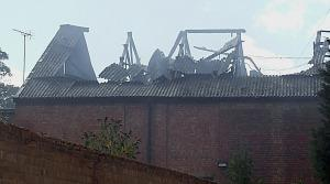 roof of fire damaged Kings Heath cinema