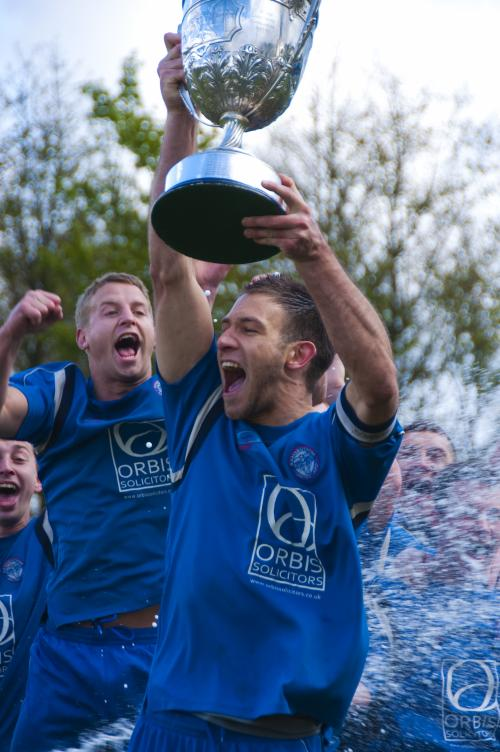 Ramsbottom United Captain Andy Dawson celebrates