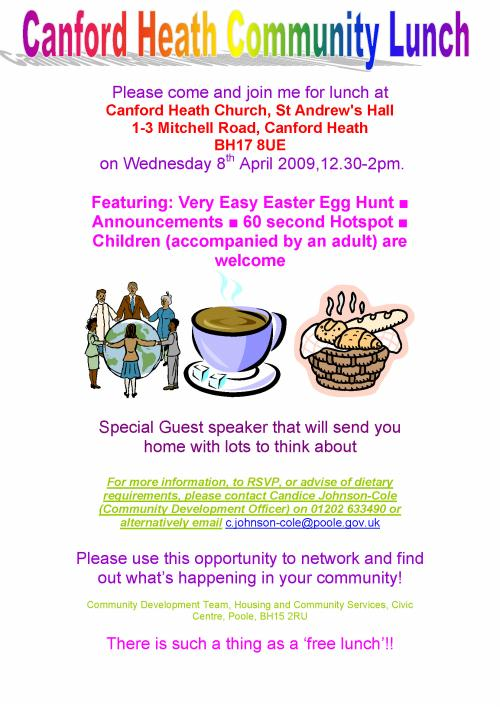 Canford Heath Community Lunch - AboutMyArea - Poole