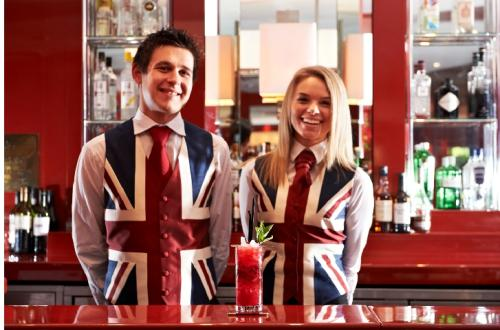 Marriott Staff in Jubilee Union Jack waistcoat uniform