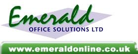 Emerald Office Solutions Ltd logo in green with website address details