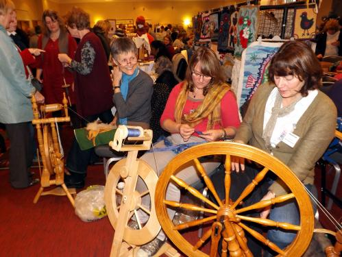 West Essex & East Herts Guild demonstrating spinning