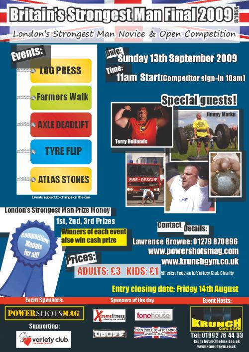 Britains Strongest Man & Londons Strongest Man Competition 2009 promotional poster