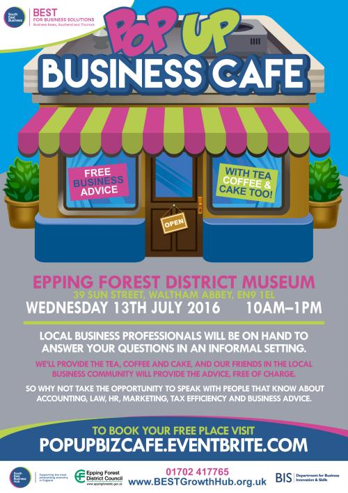 Epping Forest Pop Up Business Cafe flyer