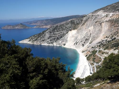 Myrtos Beach in Kefalonia by Kate Towerzey