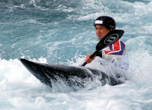 Team GB Canoe Slalom Lizzie Neave in action at Lee Valley White Water Centre