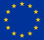 EU flag featuring 12 gold stars on blue background
