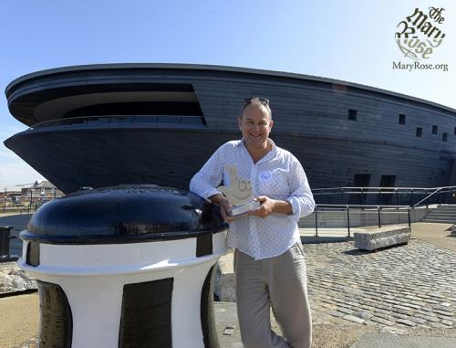 Hugh Bonneville outside The Mary Rose