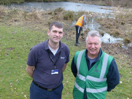 Council Greenspace Officer, Tim Lloyd, with Community Payback Team Supervisor, Val Barker at Lees Lane in Neston.