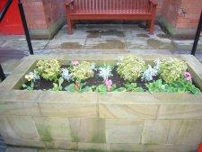 One of the three planters at Neston Town Hall