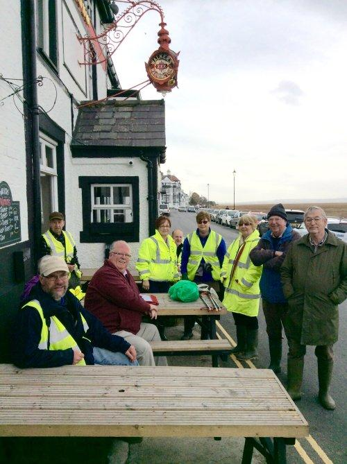 Volunteers met before and after the litter pick, at The Red Lion in Parkgate