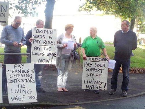 Living Wage demonstration at Neston High School