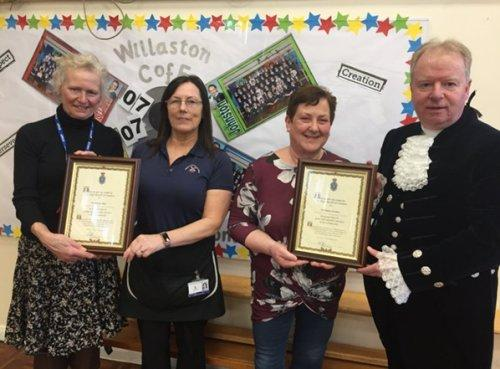 Long service awards handed to staff at Willaston CofE Primary School