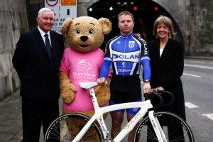 Craig Maclean and Claire Bear help launch this year's bike ride
